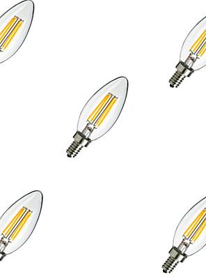 5pcs e14 4W 400LM warm / koel wit 360 graden edison gloeidraad licht LED kaars lamp (220V)