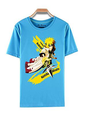 קיבל השראה מ Naruto Naruto Uzumaki אנימה תחפושות קוספליי Cosplay חולצת טריקו דפוס כחול קצר עליון