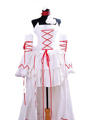קיבל השראה מ Pandora Hearts Alice אנימה תחפושות קוספליי חליפות קוספליי אחיד לבן / אדום בלי שרוולים שמלה / שרשרת / שרוולים