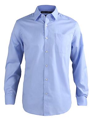 JamesEarl Heren Overhemdkraag Lange mouw Shirt & Blouse Cyaan-MC1ZC000605