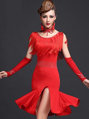 ריקוד לטיני שמלות בגדי ריקוד נשים ביצועים ספנדקס / ויסקוזה גדיל (ים) 2 חלקים שמלות / שורטיםDress length M/L/XL:85cm Suitable weight