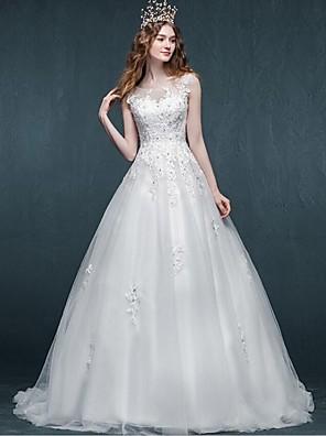 A-라인 웨딩 드레스 스윕 / 브러쉬 트레인 스쿱 튤 와 아플리케