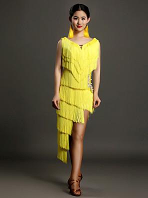 ריקוד לטיני שמלות בגדי ריקוד נשים ביצועים ספנדקס חרוזים / קריסטלים / rhinestones / גדיל (ים) חלק 1 בלי שרוולים טבעי שמלותS:116cm M:118cm