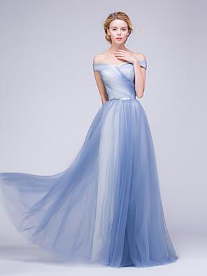 포멀 이브닝 드레스 A-라인 오프 더 숄더 바닥 길이 튤 와 비즈 / 허리끈/리본 / 옆면 드레이핑