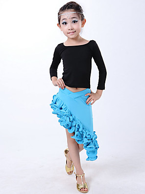 Dança Latina Vestidos Crianças Actuação Fibra de Leite Plissado 2 Peças Luva de comprimento de 3/4 Natural Saia / TopDress Length:XS:52cm