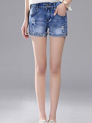 Kvinner Gatemote Shorts / Jeans Bukser Bomull Uelastisk