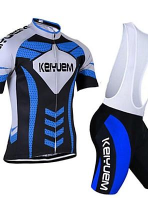 KEIYUEM® חולצת ג'רסי ומכנס קצר ביב לרכיבה לנשים / לגברים / יוניסקס שרוול קצר אופנייםנושם / ייבוש מהיר / עמיד לאבק / לביש / דחיסה / כיס