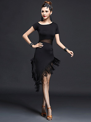 ריקוד לטיני שמלות בגדי ריקוד נשים ביצועים Chinlon / ניילון גדיל (ים) חלק 1 שרוול קצר גבוה שמלות M:132-136cm,L:136-140cm,XL:140-144cm