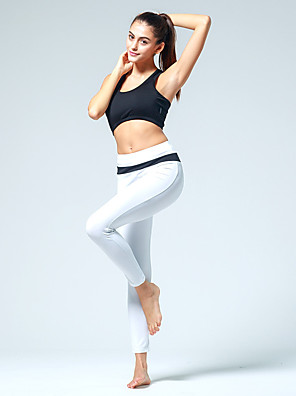 calças de yoga Meia-calça Respirável Natural Stretchy Wear Sports Branco / Preto / pêssego Mulheres EsportivoIoga / Pilates / Exercicio e