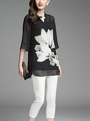 דפוס צווארון V פשוטה ליציאה חולצה נשים,קיץ אורך שרוול ¾ שחור דק פוליאסטר