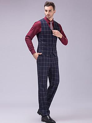 חליפות גזרה צרה סגור חזה כפול 6 כפתורים 3 חלקים כחול נייבי כהה