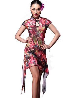 ריקוד לטיני שמלות בגדי ריקוד נשים אימון ספנדקס דפוס / הדפסה / Leopard 2 חלקים שרוול קצר טבעי שמלות / שורטים M:81-114cm/L:82-115cm