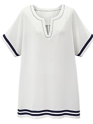 Vrouwen Casual/Dagelijks / Grote maten Street chic T Shirt Jurk Gestreept-V-hals Boven de knie Korte mouw Blauw / Wit Katoen / Linnen