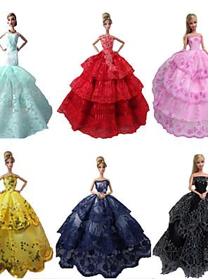 Fest/Aften Kjoler Til Barbie Doll Rød / Sort / Lyserød / Gul / Blekk Blå / Cyan Kjoler For Pigens Doll Toy