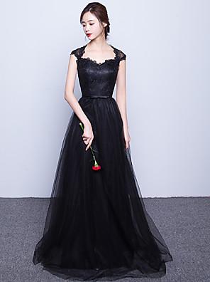 포멀 이브닝 드레스 A-라인 스윗하트 스윕 / 브러쉬 트레인 레이스 / 튤 와 허리끈/리본