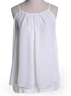 Women's Casual/Daily Sexy Spring / Summer / Fall Tanks,Solid Strap Sleeveless Pink / White / Black / Purple Medium