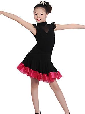 בלט שמלות בגדי ריקוד ילדים אימון כותנה / קרפ / פשתן Ruched חלק 1 שרוול קצר טבעי שמלות100:50cm, 110:52cm, 120:54cm, 130:56cm, 140:58cm,