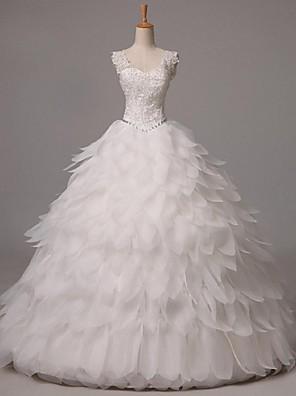 볼 드레스 웨딩 드레스 바닥 길이 스트랩 오간자 와 비즈
