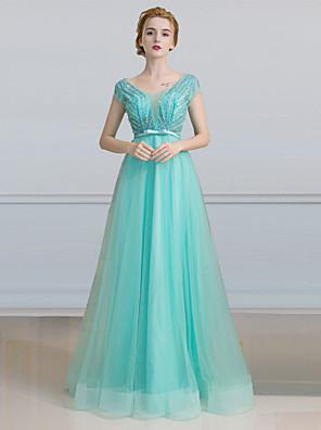 포멀 이브닝 드레스 A-라인 사각형 바닥 길이 튤 와 진주 디테일