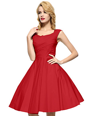 Maggie Tang Women's Black/Red/Blue 50s Vintage Swing Midi Dress,Plus Size