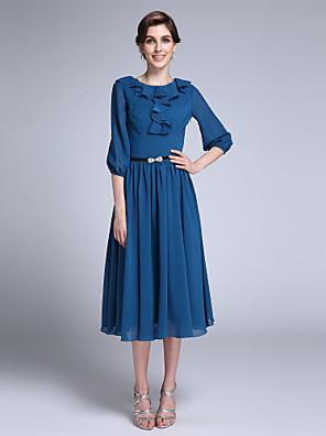 Lanting Bride Sheath / Column Mother of the Bride Dress Tea-length Half Sleeve Chiffon with Sash / Ribbon / Ruffles
