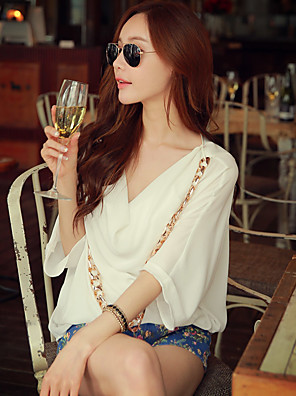 Rosa Doll® Damen V-Ausschnitt 1/2 Länge Ärmel Shirt & Bluse Weiß-X15BST012