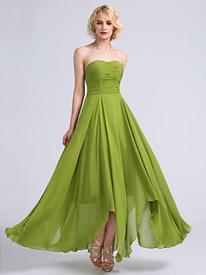 2017 לנטינג bride® שושבינה שיפון באורך הקרסול להלביש אונליין סטרפלס עם ruching