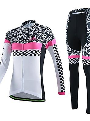 ספורטיבי חולצה וטייץ לרכיבה לנשים / יוניסקס שרוול ארוך אופניים נושם / ייבוש מהיר / לביש / דחיסה / 3D לוח / כיס אחורי / תומך זיעהאימונית /