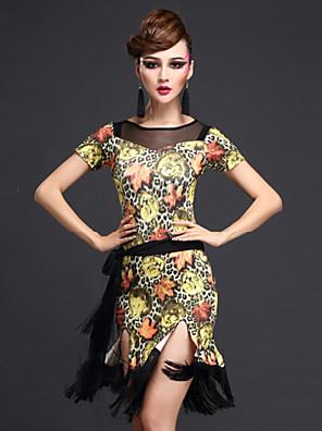 ריקוד לטיני שמלות בגדי ריקוד נשים ביצועים טול / מילק פייבר דפוס / הדפסה 3 חלקים שרוול קצר טבעי שורטים / שמלות / חגורהSuitable Weight