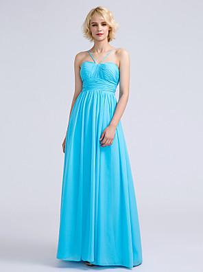 Lanting Bride® עד הריצפה שיפון שמלה לשושבינה - גזרת A רצועות ספגטי עם תד נשפך / סלסולים