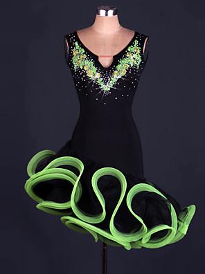 Latinské tance Šaty Dámské Výkon Polyester / Organza Křišťály / Bižuterie Jeden díl Bez rukávů Vysoký Šaty
