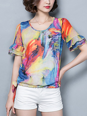 Women's Casual/Daily Vintage / Boho Summer Blouse,Print Round Neck Short Sleeve Red / Purple Polyester Thin