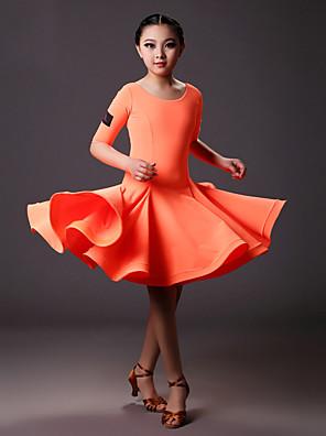 Latinské tance Šaty Dětské Trénink Lycra Nařasený Jeden díl Polodlouhé rukávy Přírodní Šaty S:71cm  M:72cm L:73cm XL:74cm XXL:75cm