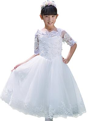 Plesové šaty K lýtkům Šaty pro květinovou družičku - Tyl Poloviční rukáv Bateau s Aplikace