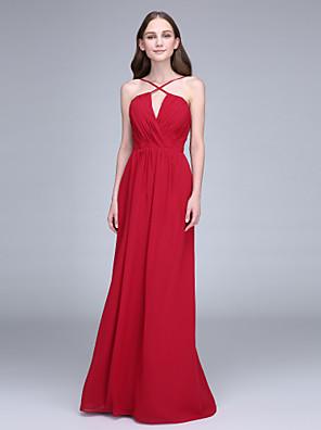 2017 Lanting bride® podlahy Délka šifónové družička šaty plášť / sloupec špagetová ramínka s criss křížem