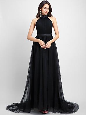 2017 ts couture® de noite formal vestido A linha cabeçada capela trem tule com drapeados