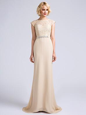 Lanting Bride® Cauda Escova Chiffon Vestido de Madrinha - Sereia Decorado com Bijuteria com Renda