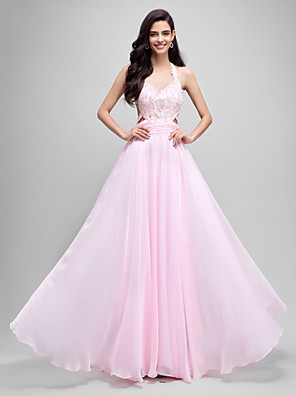 Formal Evening Dress A-line Halter Floor-length Chiffon with Appliques