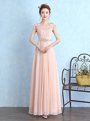 Longo Chiffon / Renda Vestido de Madrinha - Tubinho Decote em U com Detalhes em Cristal