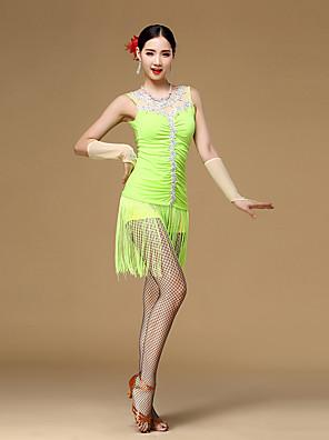 ריקוד לטיני שמלות בגדי ריקוד נשים ביצועים ויסקוזה קריסטלים / rhinestones / קפלים / גדיל (ים) 3 חלקים בלי שרוולים טבעי כפפות / שמלות