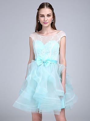 Lanting Bride® Curto/Mini Renda / Organza Vestido de Madrinha - Linha A Decote em U com Laço(s) / Renda