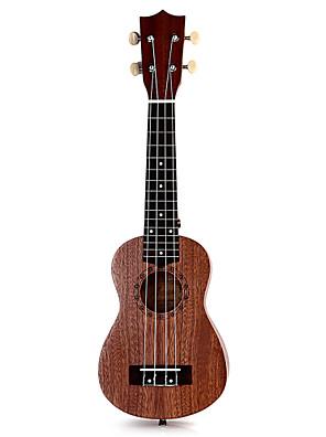 soprano top 21 polegadas ukulele uke quatro cordas instrumento sapele 15 trastes de gravação a laser de pau-rosa semi fechado clássico