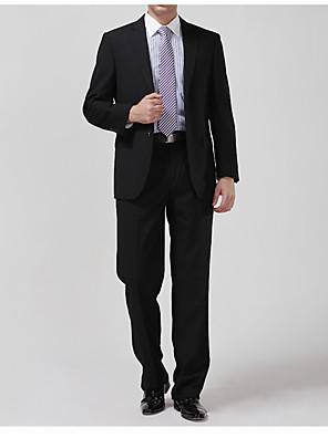 Obleky Na míru Otevřené Jednořadové se dvěma knoflíky Bavlna Jednobarevné 2 ks Černá / Námořnická Rovné s klopou Žádný (rovné nohavice)