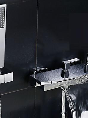 Modern Bad en douche Waterval / Wide spary with  Keramische ventiel Twee handgrepen twee gaten for  Chroom , Douchekraan / Badkraan