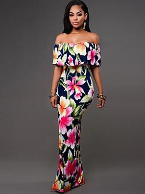 Mulheres Bainha Vestido,Férias Boho Floral Sem Alças Longo Sem Manga Azul / Verde Poliéster Verão