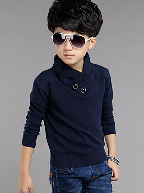 Boy's Casual/Daily Solid Sweater & Cardigan,Cotton Winter / Spring / Fall Blue / Red