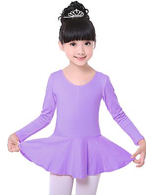 בלט שמלות בגדי ריקוד ילדים אימון כותנה Ruched חלק 1 שרוול ארוך טבעי שמלות100:52cm, 110:54cm, 120:57cm, 130:60cm, 140:63cm, 150:65cm