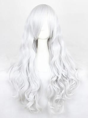 Perucas de Cosplay Angel Sanctuary Rosiel Prateado Longas Anime Perucas de Cosplay 90 CM Fibra Resistente ao Calor Masculino / Feminino