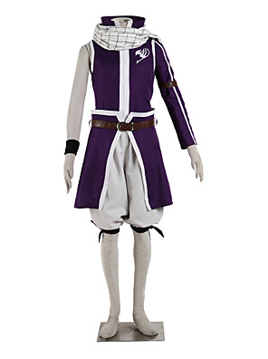 Inspirado por Fairy Tail Natsu Dragneel Anime Fantasias de Cosplay Ternos de Cosplay Color Block Púrpura Top / Saia / Shorts