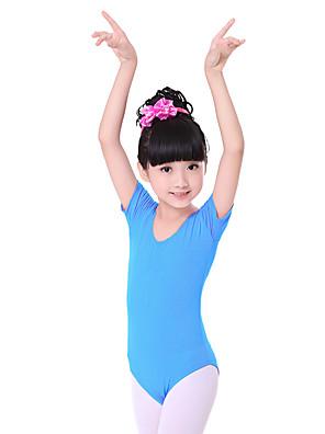 בלט בגדי גוף בגדי ריקוד ילדים אימון כותנה קפלים חלק 1 שרוול קצר טבעי Leotard100:48cm, 110:50cm, 120:52cm, 130:54cm, 140:56cm, 150:58cm